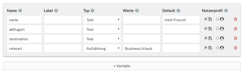 Präferenzen Variablen